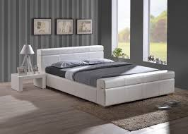 Faux Bed Frame Time Living Durham 5ft Kingsize White Faux Leather Bed Frame By
