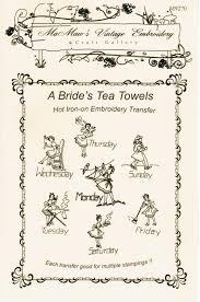 m106 vintage 1940 u0027s bride tea towel embroidery heat