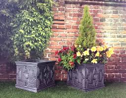 pack of 2 tudor square 35cm pewter garden planters pots patio