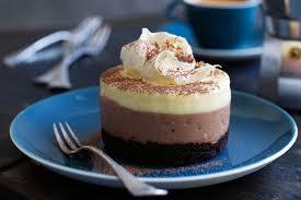 triple layered chocolate cheesecakes