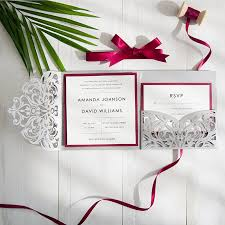 wedding invitations burgundy burgundy and gray laser cut pocket wedding invitations