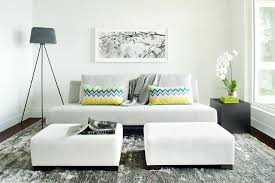 White Ottoman Coffee Table - apartment small family room with bright grey mini sofa and white