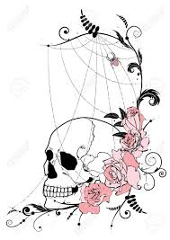 illustration with flowers of roses skull and spiderweb royalty free