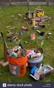 day after backyard fireworks display july 4th clean up the garbage