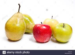 two fresh green pears and three apples in red green and yellow