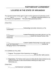 sample business partnership agreement free arkansas partnership