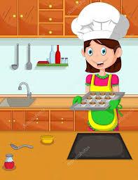 maman cuisine cuisinier de dessin animé mignon maman dans la cuisine
