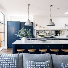 kitchens navy blue kitchen with white marble island also mirror