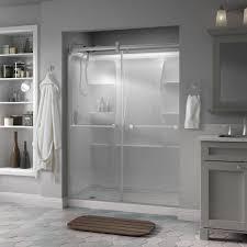 Frameless Glass Shower Door Kits Delta Lyndall 60 In X 71 In Semi Frameless Contemporary Sliding