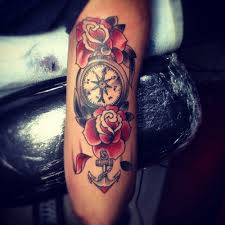 compass and anchor tattoos anchor