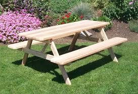 outdoor chair with table attached amish cedar wood table with attached benches cedar wood wood