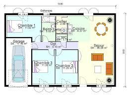 plan de maison 5 chambres plain pied plan maison une chambre plan maison 3 chambres plain pied plan