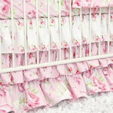 shabby chic roses ruffle baby beddling caden lane
