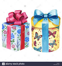 wrapped gift box watercolor birthday gift box illustration wrapped gift boxes with