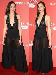 gal jumpsuit gal gadot exposes camel toe in mugler jumpsuit and carlyle sandals
