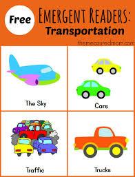 free printable emergent readers transportation sight word