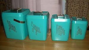613 147 cool retro color teal set of 4 vintage kitchen canisters