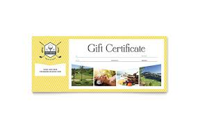 travel gift certificates golf resort gift certificate template design