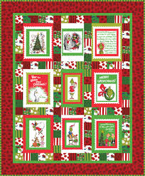 merry grinchmas panel quilt free pattern robert kaufman fabric