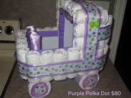 purple polka dot diaper stroller the giftbasket genie