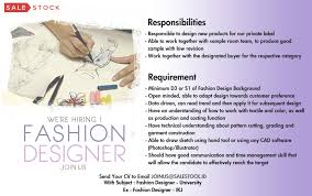 sample resume for fashion designer sale stock linkedin we are looking for fashion designer please send your resume to joinus salestock id with subject format fashion designer your university example