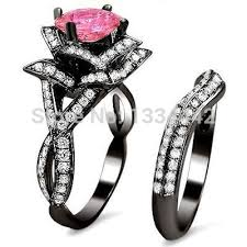 black and pink wedding rings promotion 2015 design flower ring jewelry engagement