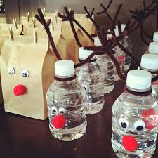 reindeer water bottles and popcorn bags would be cute for the