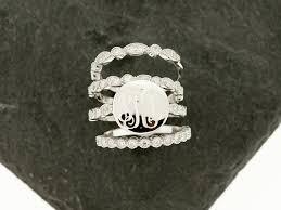 Monogram Rings Silver 925 Silver Cz Stacking Monogram Ring Wedding Set Monogram