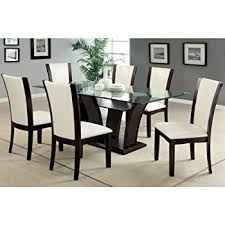 Dark Dining Room Table Amazon Com Manhattan Dark Cherry Finish Glass Top 7 Piece Dining