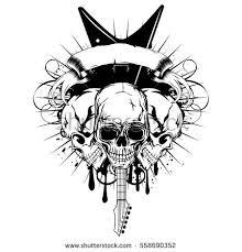 vector illustration three skull guitar on stock vector 558690352