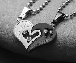 heart couple necklace images I love you heart shape couple necklace jpg