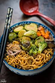 turkey ramen noodle soup with brussels sprouts broccoli
