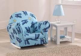 kidkraft 18706 kids blue airplane upholstered rocker rocking chair