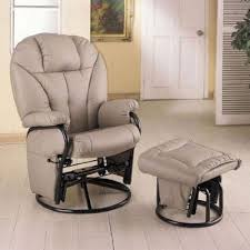 Recliner Rocker Chair Bone Leatherette Glider Rocker Recliner Chair With
