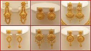 gold earring design designer gold earrings with weight vidozee and