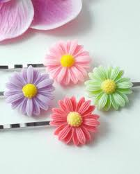 handmade hair accessories 2 pairs of bobby pins flower hair pins handmade hair