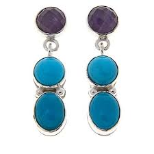 turquoise drop earrings king turquoise and amethyst drop sterling silver earrings