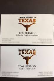 offensive business cards texans longhorns coach tom herman shares picture of graduate