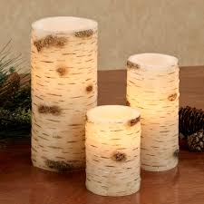 ancient roots faux birch led flameless candle