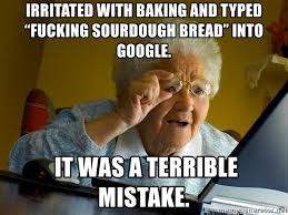 Google It Meme - irritated with baking and typed fucking sourdough bread into
