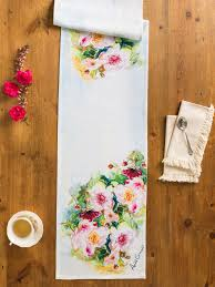 peony watercolor table runner linens u0026 kitchen placemats