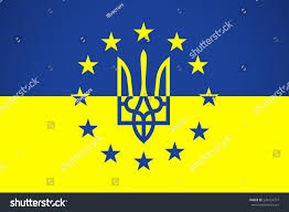 Flag Of The European Union European Union Flag Coat Arms Ukraine Stock Vector 244154377