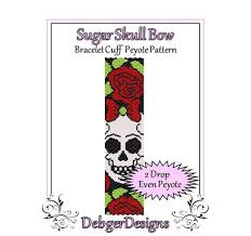 sugar skull bow beaded peyote bracelet cuff pattern
