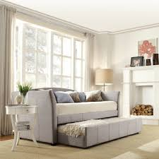 Bedroom Wall Padding Uk Siesta Fabric Daybed In Beige Tweed By Hillsdale Furniture