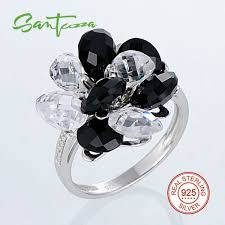 black fashion rings images Santuzza silver ring for women 925 sterling silver fashion rings jpeg