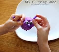 egg carton and cupcake liner dinosaur craft still playing