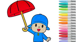 pocoyo coloring book coloring pages preschool rainbow splash