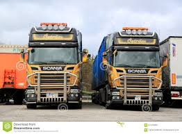 customized truck two customized scania euro 6 trucks up front editorial image