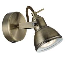 Bedroom Wall Lights With Rocker Switch Searchlight 1541ab Focus 1 Light Wall Spotlight Antique Brass