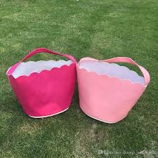 wholesale easter buckets 2018 pu leather scalloped easter buckets wholesale blanks